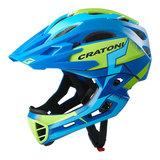 cratoni c-maniac pro blue lime matt - mtb helm full face - mountainbike helm
