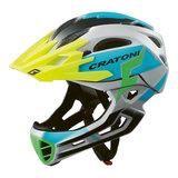 cratoni c-maniac pro grey blue matt - mtb helm full face - mountainbike helm