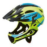 cratoni c-maniac pro yellow blue matt - mtb helm full face - mountainbike helm