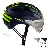 casco speedairo blauw geel race fiets helm met vizier carbonic 04.5016.U of 04.5015
