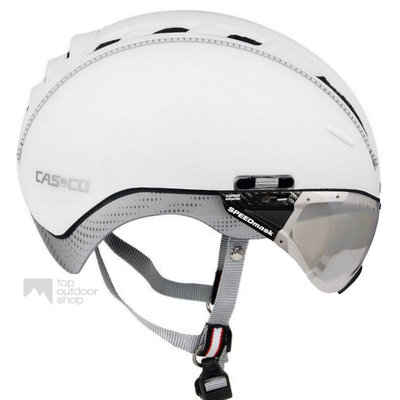 Casco Roadster wit e bike helm + vautron vizier (meekleurend) - Gratis montage!