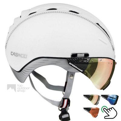Casco Roadster Wit e bike helm + carbonic multilayer vizier (keus uit 3) - Gratis montage!