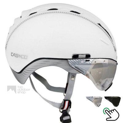 Casco Roadster wit e-bike helm + carbonic vizier (keus uit 2) - Gratis montage!