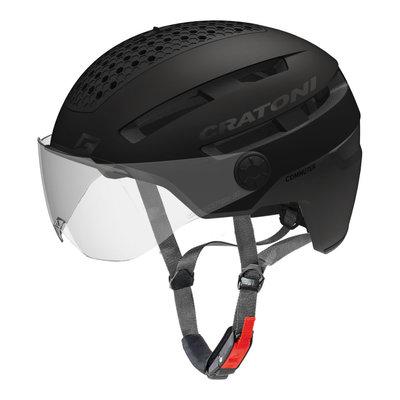 Cratoni Commuter Zwart - Pedelec Helm met Vizier, led licht & Reflectors