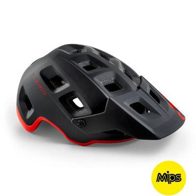 MET Terranova Mips mtb helm zwart-rood - met afneembaar vizier - kan met verlichting