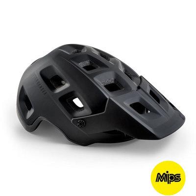 MET Terranova Mips mtb helm zwart - met afneembaar vizier - kan met verlichting