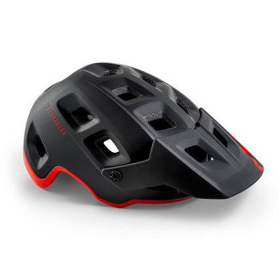 MET Terranova mtb helm zwart-rood - met afneembaar vizier - kan optioneel met verlichting