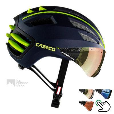 Casco Speedairo 2 blauw-geel + carbonic multilayer vizier (keus uit 3)- Gratis montage!