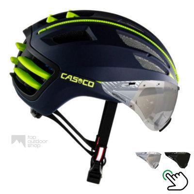 Casco Speedairo 2 blauw-geel + carbonic vizier (keuze uit 2)- met GRATIS montage!