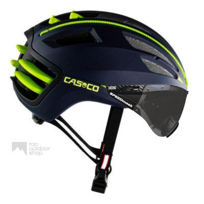 Casco Speedairo 2 blauw-geel + anti scratch vizier - met GRATIS montage!