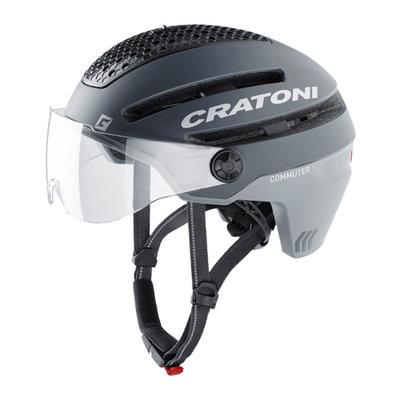 Cratoni Commuter grijs mat - Pedelec Helm met Vizier, led licht & Reflectors