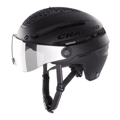 Cratoni Commuter zwart mat - Pedelec Helm met Vizier, led licht & Reflectors