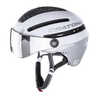 Cratoni Commuter wit mat - Pedelec Helm met Vizier, led licht & Reflectors