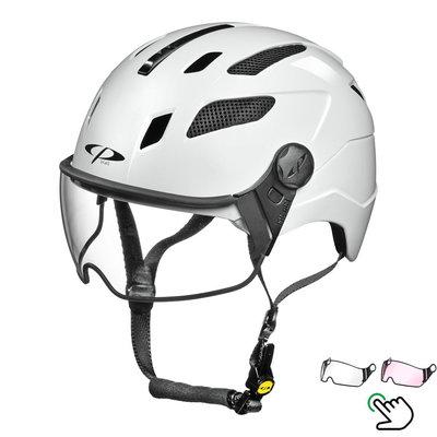 CP Chimayo+ Wit - Trendy Pedelec helm / E-bike helm - Kies je Vizier - Helder of Meekleurend