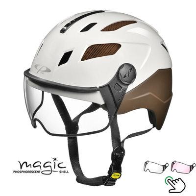 CP Chimayo+ bruin-wit - Pedelec helm / E-bike helm fluoriserend in donker! - Kies zelf je Vizier