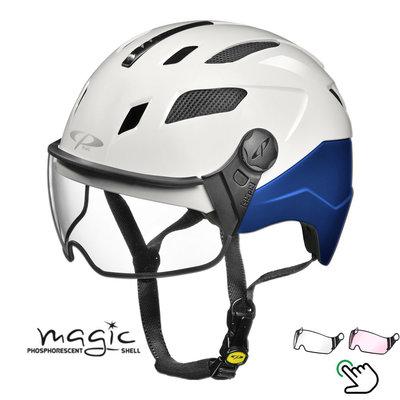CP Chimayo+ blauw-wit - Pedelec helm / E-bike helm fluoriserend in donker! - Kies zelf je Vizier
