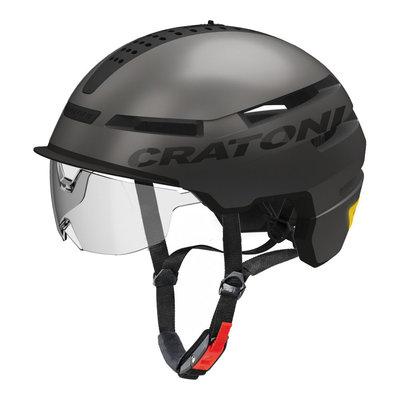 Cratoni Smartride Antraciet - Pedelec Helm - Fietshelm met Vizier, Licht & App