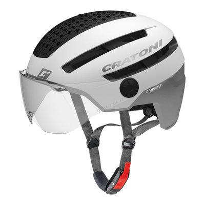 Cratoni Commuter Wit Mat - Pedelec Helm - Fietshelm met Vizier & Reflectoren