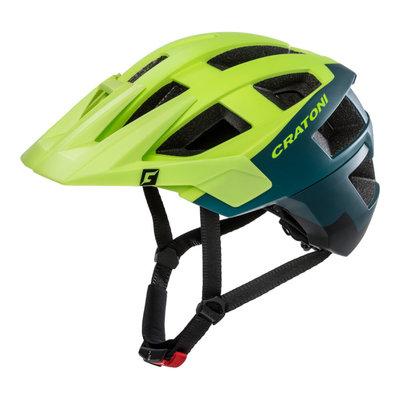 mtb helm - Cratoni Allset lime-petrol - goed in mtb helm test - mtb helm met gopro port