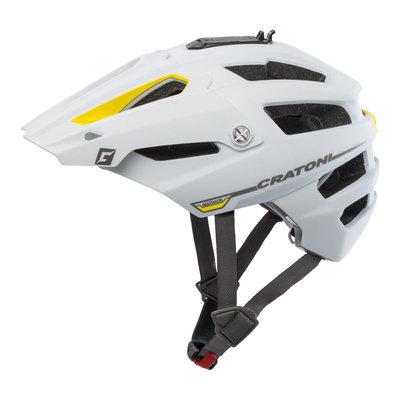 mtb helm - Cratoni Alltrack Wit-Geel - fietshelm mtb met camera adaptor