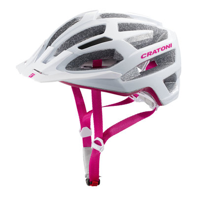 Mtb helm Dames - Cratoni C-Flash Wit Roze - goede fietshelm in mtb helm test