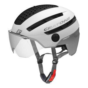 cratoni commuter wit speed pedelec helm Fietshelm met vizier Cratoni Commuter wit mat - Fietshelm Speed Pedelec helm met vizier