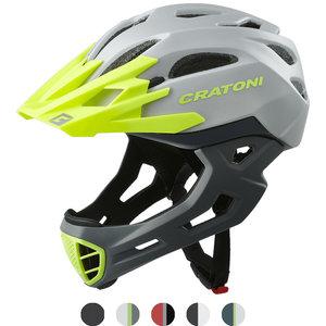 cratoni c-maniac - mtb helm full face grey-lime matt - mountainbike helm - world wide bestseller