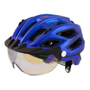 slokker penegal fietshelm met vizier blauw kopen - fietshelm - mtb helm - racefiets helm - fietshelm met vizier - e bike helm