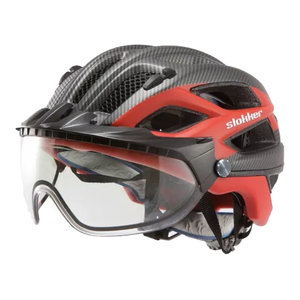 slokker penegal rood carbon kopen - fietshelm - mtb helm - racefiets helm - fietshelm met vizier - e bike helm